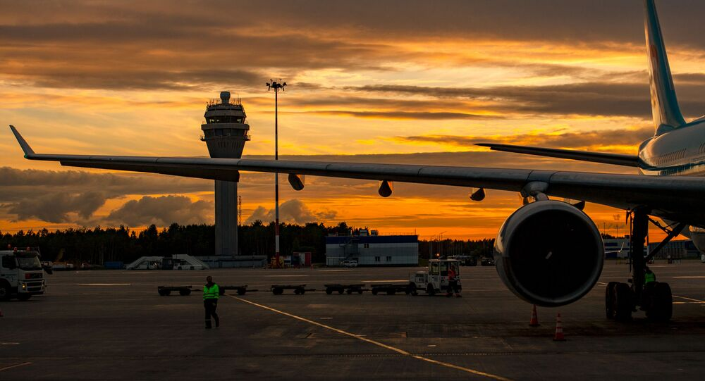 A view of the plane at sunset at the Pulkovo airport in St. Petersburg, Russia, June 9, 2018