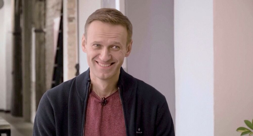 Russian opposition politician Alexei Navalny smiles during an interview with prominent Russian YouTube blogger Yury Dud, in Berlin, Germany, in this still image taken from a handout video released October 6, 2020