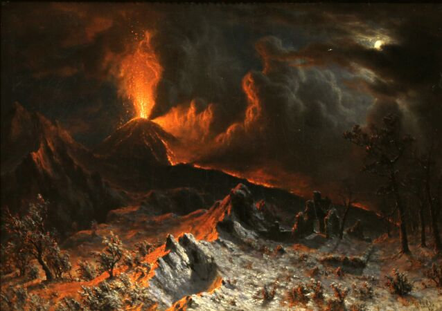 An 1868 painting called Mount Vesuvius at Midnight by Albert Bierstadt is shown during an exhibition called The Last Days of Pompeii: Decadence, Apocalypse, Resurrection at The Cleveland Museum of Art Friday, Feb. 22, 2013, in Cleveland. Bierstadt witnessed the 1868 eruption of Mount Vesuvius. The exhibition will be on view from Feb. 24 through July 7, 2013. (AP Photo/Tony Dejak)
