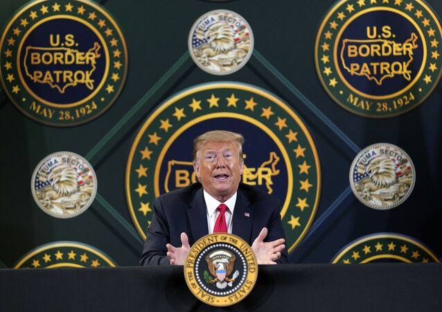 In this June 23, 2020, file photo President Donald Trump participates in a border security briefing at United States Border Patrol Yuma Station in Yuma, Ariz. President Donald Trump is promising new executive action on immigration as he returns to the defining issue of his administration.