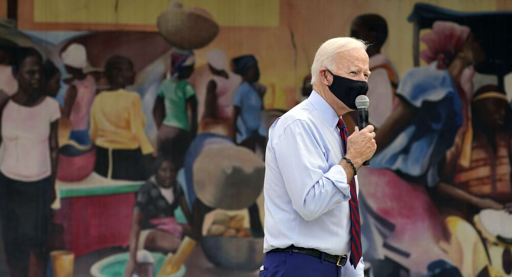 Democratic presidential candidate former Vice President Joe Biden speaks at the Little Haiti Cultural Complex, Monday, Oct. 5, 2020, in Miami.