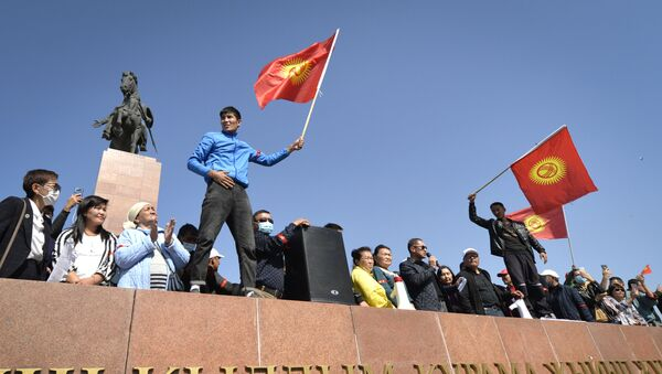 People protest during a rally against the results of a parliamentary vote in Bishkek, Kyrgyzstan, Monday, Oct. 5, 2020 - Sputnik International