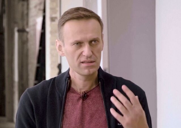 Russian opposition politician Alexei Navalny speaks during an interview with prominent Russian YouTube blogger Yury Dud, in Berlin, Germany, in this still image taken from a handout video released October 6, 2020