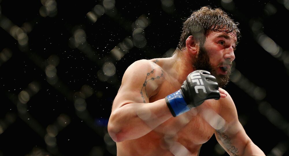 NEWARK, NJ - JANUARY 30: Jimmie Rivera of the United States fights against Iuri Alcantara of Brazil (not pictured) in their bantamweight bout during the UFC Fight Night event at the Prudential Center on January 30, 2016 in Newark, New Jersey