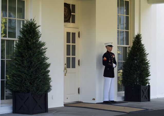 A Marine is posted outside the West Wing of the White House, signifying the President is in the Oval Office, Wednesday, Oct. 7, 2020, in Washington.