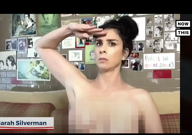 A screenshot from a NowThis News video showing naked celebrities encouraging US voters to follow in-mail voting instructions