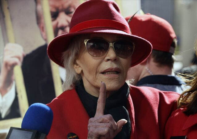 Two-time Oscar winner Jane Fonda, 82, leads her Fire Drill Fridays rally, calling for action to address climate change at Los Angeles City Hall Friday, Feb. 7, 2020.