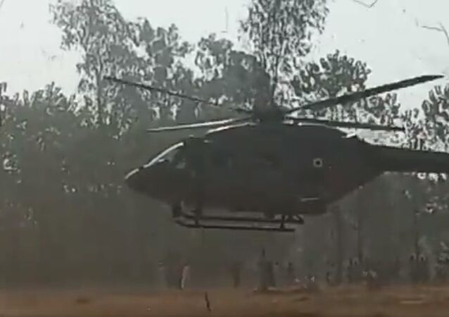 Indian Air Force helicopter in village Kallarpur of Saharanpur (U.P.) due to technical fault