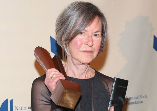 (FILES) This file photo taken on November 19, 2014 shows Louise Gluck attending the 2014 National Book Awards in New York City