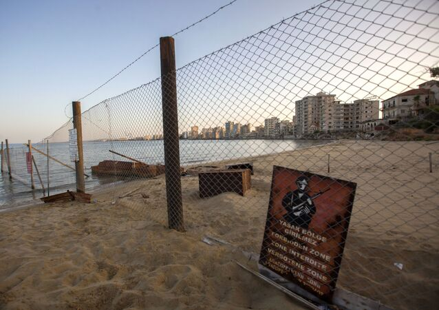 A view of deserted buildings of the tourist area of Varosha, in the fenced off area of Famagusta, in the Turkish-occupied north of the divided eastern Mediterranean island of Cyprus, on October 6, 2020