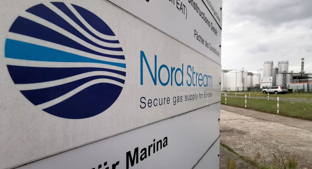 An information billboard near the Nord Stream 2 gas pipeline station in Lubmin, Germany.