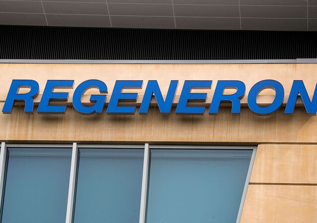 The Regeneron Pharmaceuticals company logo is seen on a building at the company's Westchester campus in Tarrytown, New York, U.S. September 17, 2020.
