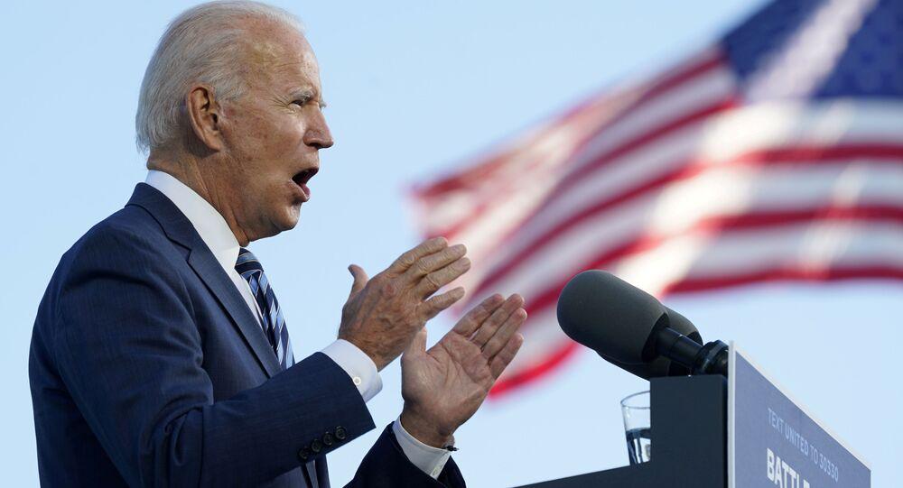 Democratic US presidential nominee Joe Biden speaks during a campaign stop in Gettysburg, Pennsylvania, 6 October 2020.