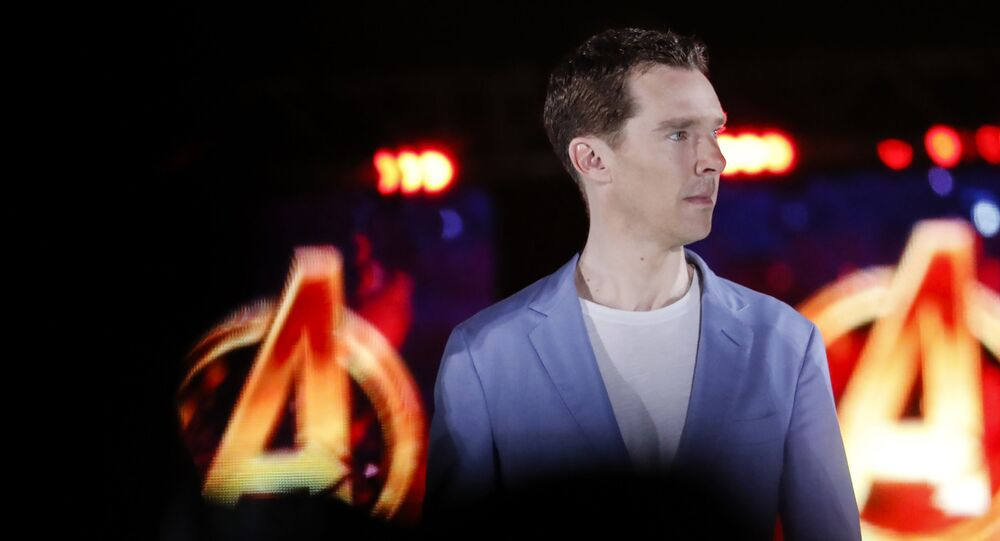 Benedict Cumberbatch, who plays Doctor Strange, attends Marvel's Avengers: Infinity War red carpet fan event in Singapore, Monday, April 16, 2018.