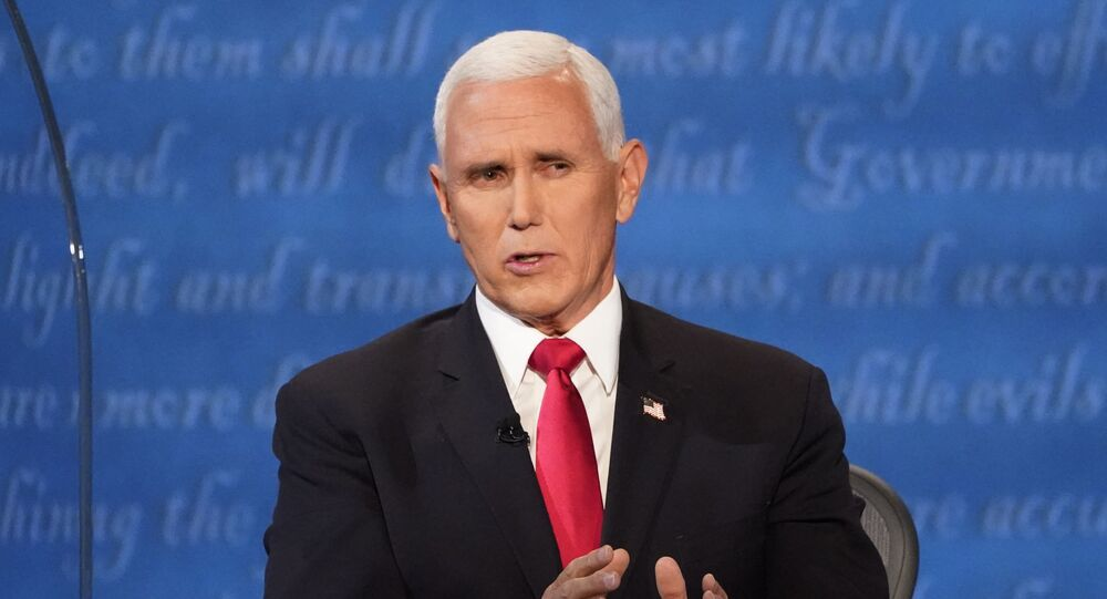 Vice President Mike Pence speaks during the vice presidential debate Democratic vice presidential candidate Sen. Kamala Harris, D-Calif., Wednesday, Oct. 7, 2020, at Kingsbury Hall on the campus of the University of Utah in Salt Lake City
