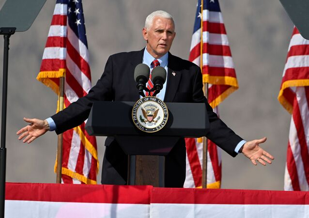 U.S. Vice President Mike Pence speaks at campaign event at Boulder City Airport, in Boulder City, Nevada, U.S., October 8, 2020.