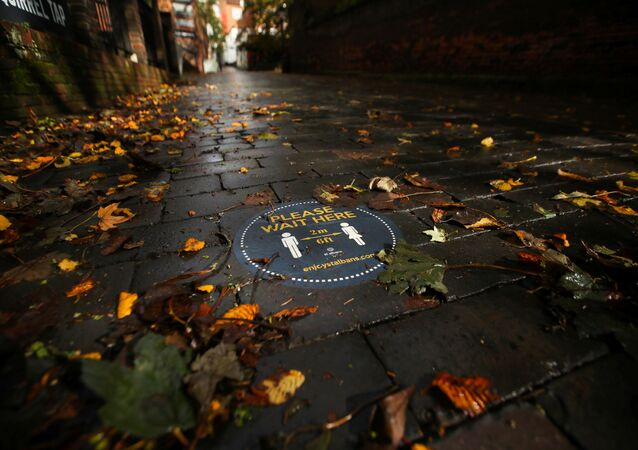 A social distancing sign is seen among autumn leaves, after the outbreak of the coronavirus disease (COVID-19), in St. Albans, UK, 8 October 2020