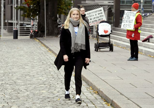 Aava Murto, is photographed, in Helsinki, Finland, Wednesday, Oct. 7, 2020