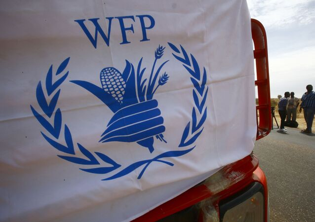 (FILES) In this file photo taken on May 19, 2017 A convoy of trucks carrying humanitarian assistance provided by the World Food Program (WFP) to Southern Sudanese refugees, drives in the North Kordofan state