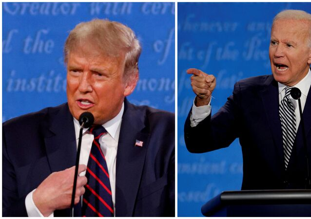 A combination picture shows US President Donald Trump and Democratic presidential nominee Joe Biden speaking during the first 2020 presidential campaign debate, held on the campus of the Cleveland Clinic at Case Western Reserve University in Cleveland, Ohio, US, 29 September 2020