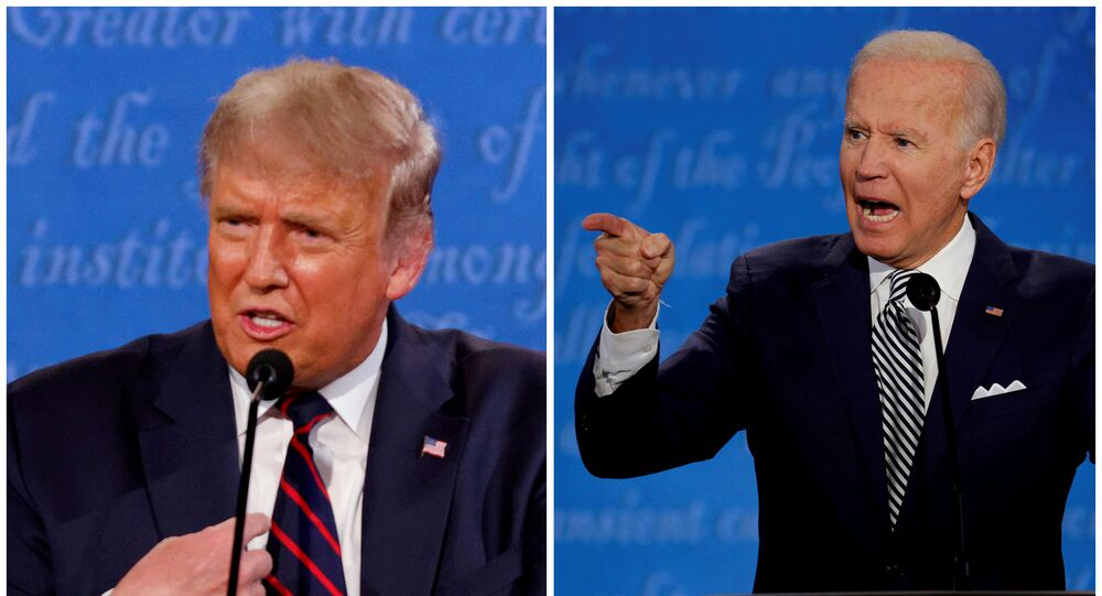 A combination picture shows U.S. President Donald Trump and Democratic presidential nominee Joe Biden speaking during the first 2020 presidential campaign debate, held on the campus of the Cleveland Clinic at Case Western Reserve University in Cleveland, Ohio, U.S., September 29, 2020