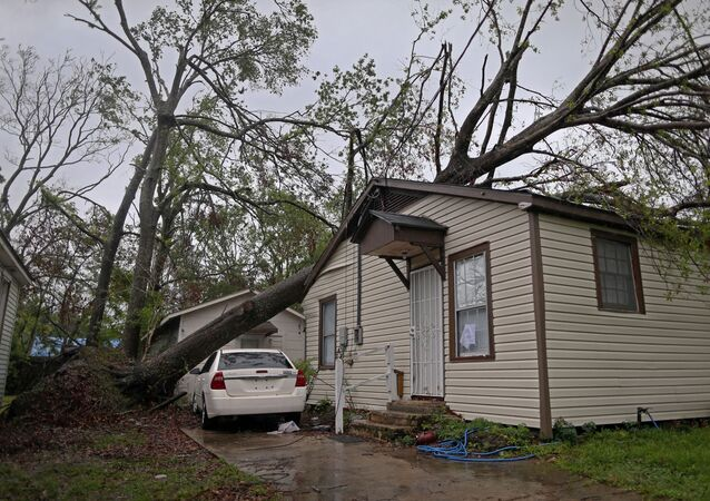 A tree that fell during Hurricane Laura is seen on top of a house as Hurricane Delta approaches in Lake Charles