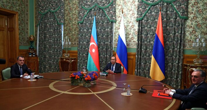 Trilateral talks between Russia, Armenia and Azerbaijan on Nagorno-Karabakh conflict take place in Moscow, 9 October 2020