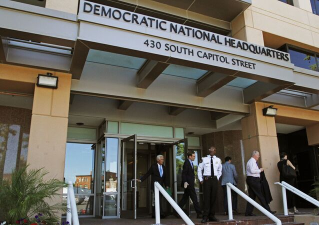 This Tuesday, 14 June 2016 file photo shows the entrance to the Democratic National Committee (DNC) headquarters in Washington