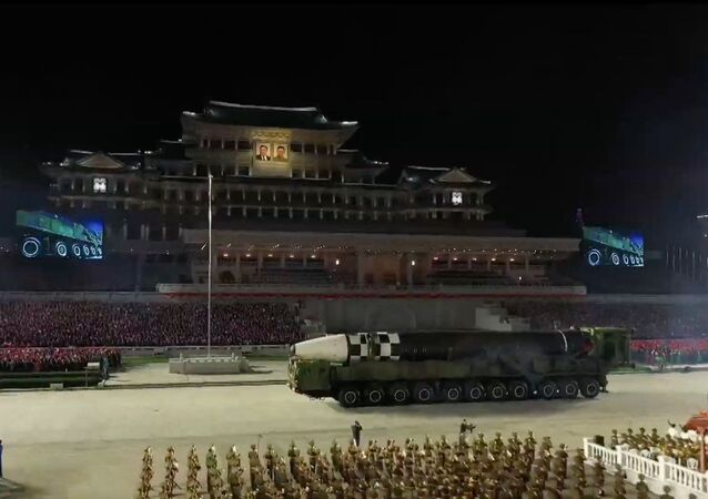 A screengrab of North Korean television showing massive new, never-before-seen ICBM in Pyongyang at celebrations marking the 75th anniversary of the founding of the Democratic People's Republic of Korea, 10 October 2020.
