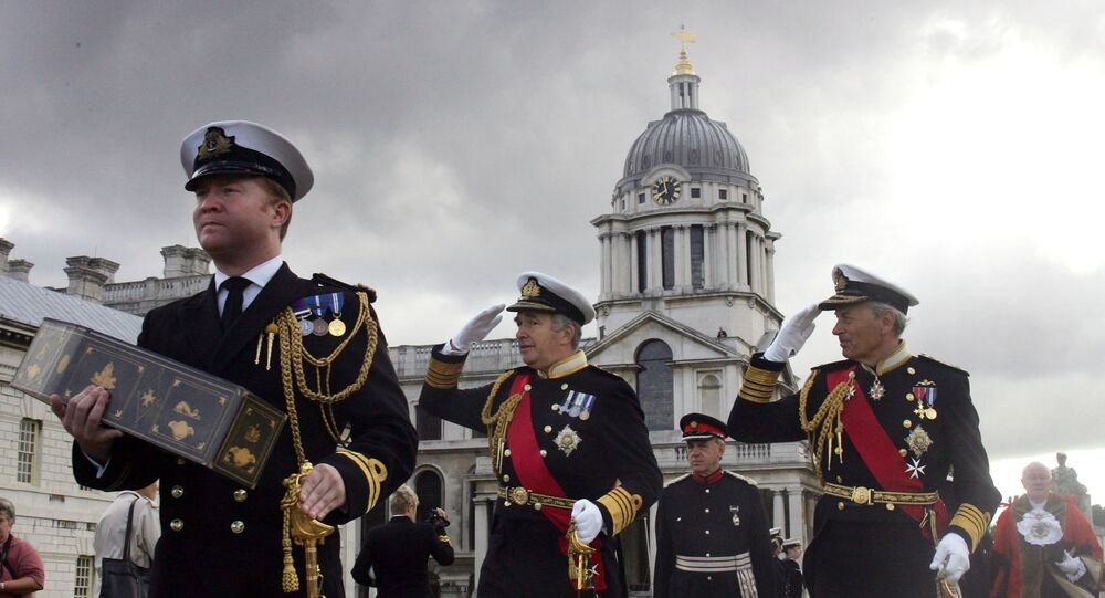 Officers from the Royal Navy re-enact the funeral of Britain's greatest naval hero, Admiral Horatio Nelson during a ceremony at the Maritime Museum in Greenwich, London, Friday, Sept, 16, 2005.