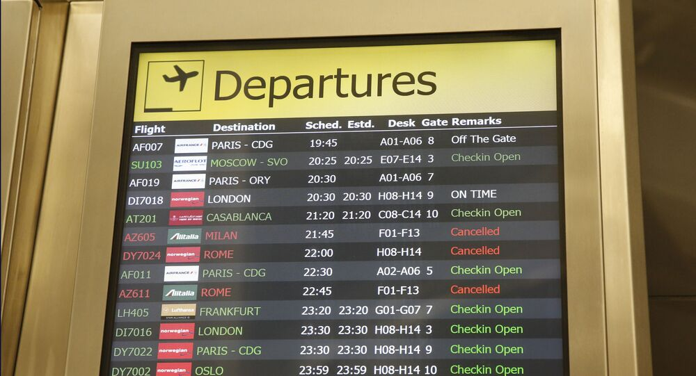 Several airlines with canceled flights are shown on a departures board at JFK airport's Terminal 1, Friday, March 13, 2020, in New York. The coronavirus outbreak is affecting the airline industry hard. Travelers from most European countries to the United States are banned for the next 30 days after President Trump announced the ban earlier in the week. Returning passengers will be screened. The global travel industry is already reeling from falling bookings and canceled reservations as people try to avoid contracting and spreading the virus.
