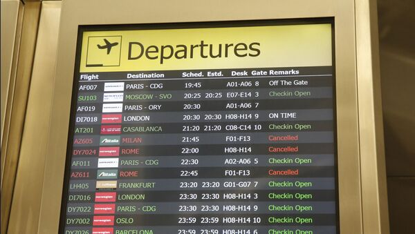 Several airlines with canceled flights are shown on a departures board at JFK airport's Terminal 1, Friday, March 13, 2020, in New York. The coronavirus outbreak is affecting the airline industry hard. Travelers from most European countries to the United States are banned for the next 30 days after President Trump announced the ban earlier in the week. Returning passengers will be screened. The global travel industry is already reeling from falling bookings and canceled reservations as people try to avoid contracting and spreading the virus. - Sputnik International