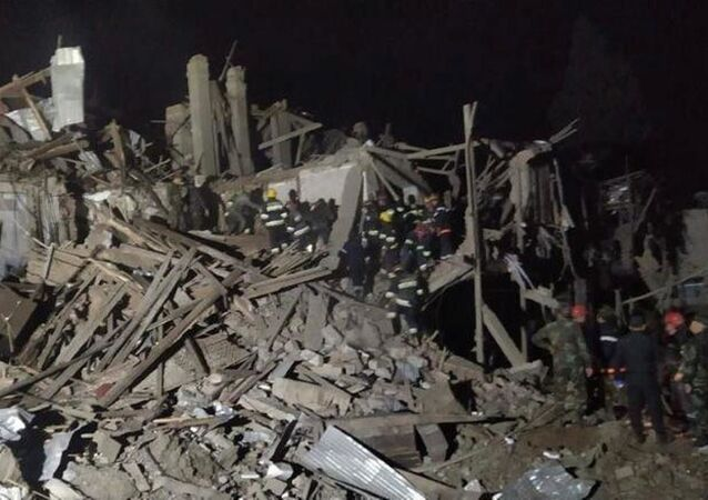 A photo showing a residence building destroyed by what is described by the Azeri Prosecutor General's office as the result of an Armenian rocket attack, 11 October 2020