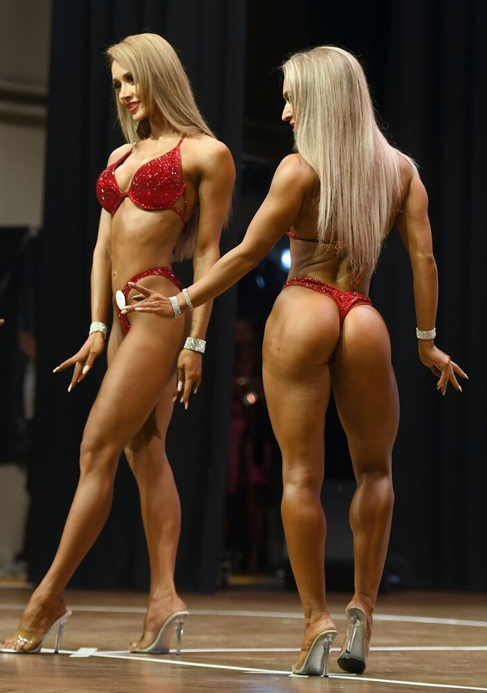 Female bodybuilders during a competition in Kazan