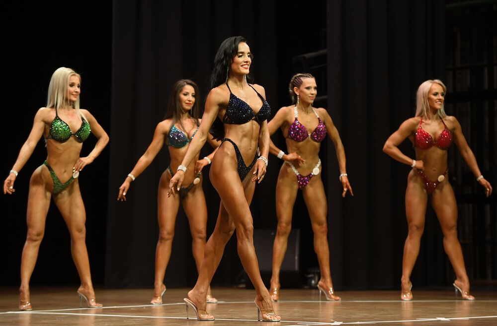 Female bodybuilders at the Bodybuilding Championship in Kazan