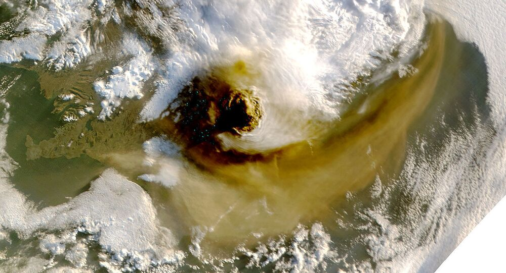 Satellite image from 22 May 2011 of the volcanic plume above Iceland