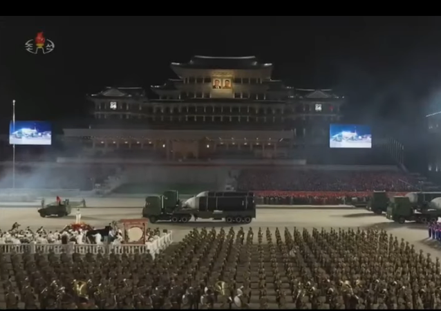 Massive nighttime parade in Pyongyang, North Korea dedicated to the 75th anniversary of the founding of the Korean Workers' Party.