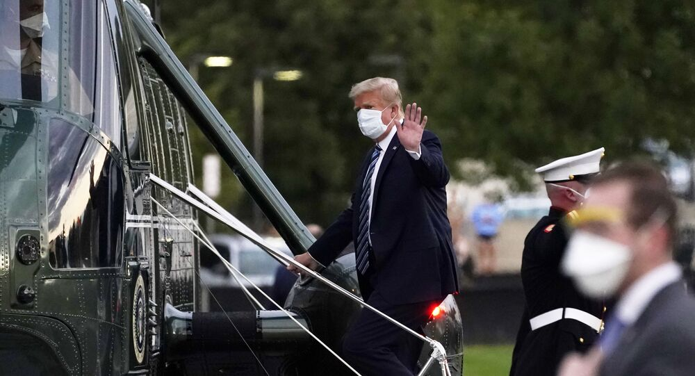 President Donald Trump boards Marine One to return to the White House after receiving treatments for COVID-19 at Walter Reed National Military Medical Center, Monday, 25 October 2020, in Bethesda, Maryland.