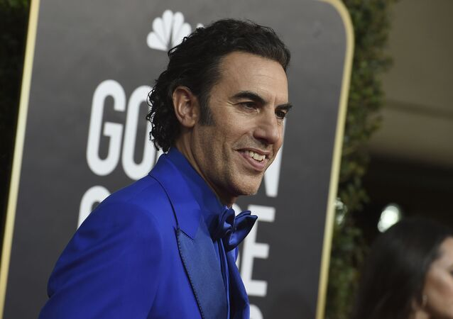 Sacha Baron Cohen arrives at the 77th annual Golden Globe Awards at the Beverly Hilton Hotel on Sunday, Jan. 5, 2020, in Beverly Hills, Calif.