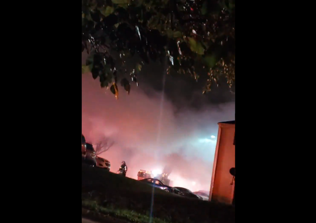 Screenshot from a video showing alleged aftermath of a gas explosion in Baltimore, 11 October 2020