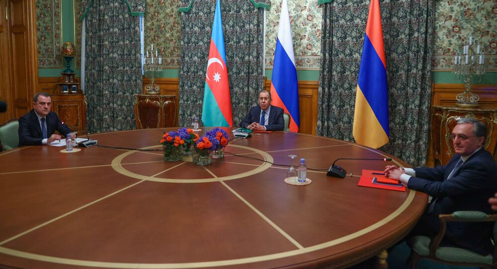 Trilateral talks between Russia, Armenia, and Azerbaijan on the Nagorno-Karabakh conflict take place in Moscow, 9 October 2020