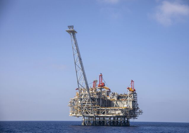 Israel's offshore Leviathan gas field in the Mediterranean Sea, Tuesday, Sept. 29, 2020.