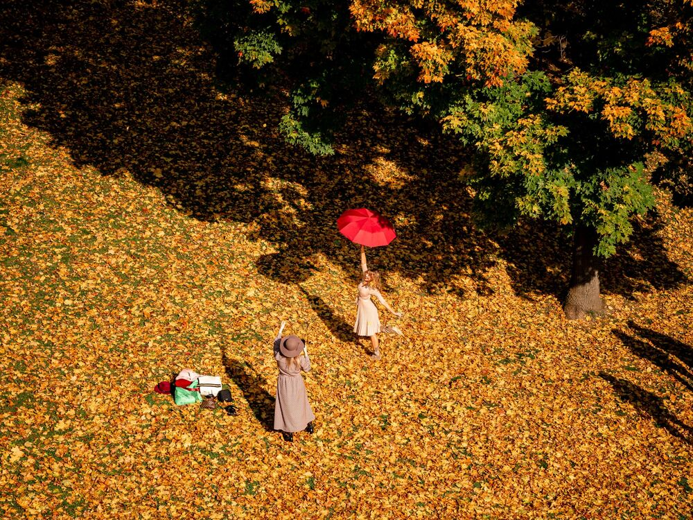 A woman hold an umbrella and poses for a photo on a sunny autumn day in Tsaritsyno Park in Moscow on 2 October 2020.