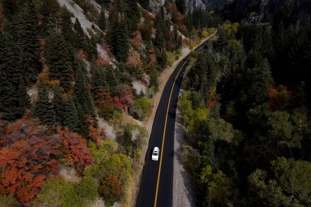 A motor travels along the Utah State Route 92, the section known as the Alpine Loop Scenic Highway, Friday, 2 October 2020, in Provo, Utah.