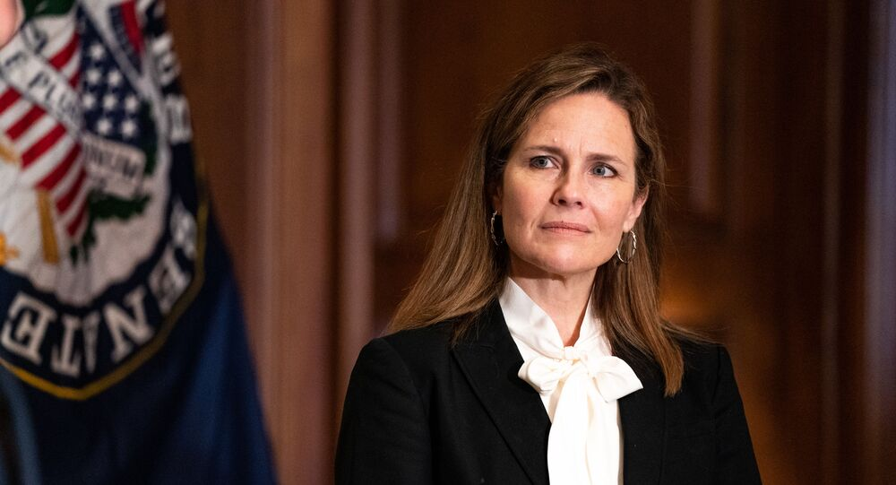 Judge Amy Coney Barrett, President Donald Trumps nominee for the US Supreme Court, meets with Senator Jerry Moran, R-KS on Capitol Hill in Washington, DC on October, 1, 2020.