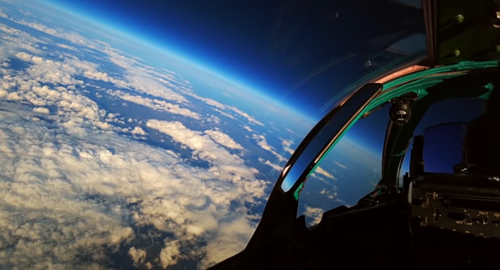 Screengrab of Russian Defence Ministry footage of MiG-31 practicing combat in the stratosphere.