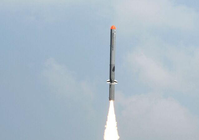 In this handout photograph released by the Press Information Bureau (PIB) on October 17, 2014, the Nirbhay sub-sonic cruise missile is launched at Balasore in the Indian state of Odisha.
