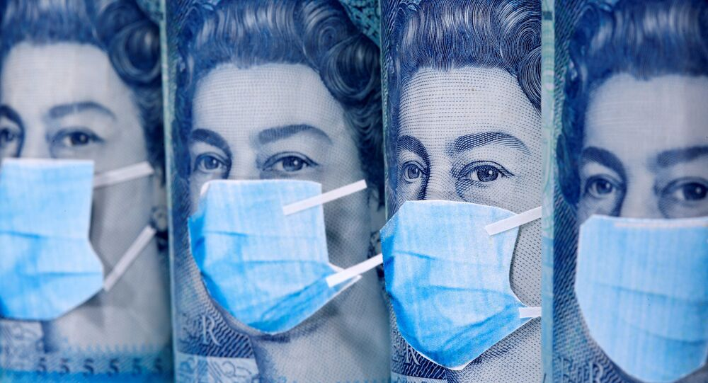 Queen Elizabeth II is seen with printed medical masks on the Pound banknotes