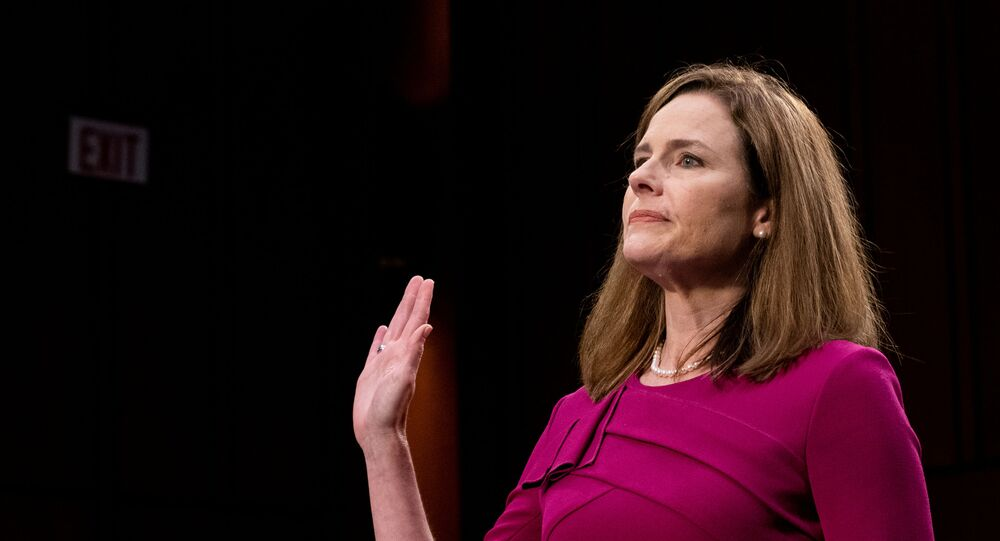 US Supreme Court nominee Amy Coney Barrett is sworn in during her confirmation hearing before the Senate Judiciary Committee on Capitol Hill in Washington , DC., 12 October 2020.