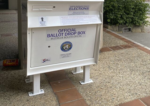 This undated photo provided by Santa Barbara County shows a ballot drop box that will be used in this year's election.